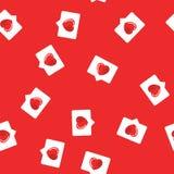 Rood hart in praatjebel op mobiel bericht en de sociale achtergrond van het netwerk naadloze patroon Liefdehart en als op rood vector illustratie