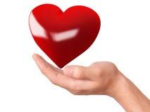 Rood hart ter beschikking Het concept van de liefde Stock Afbeeldingen