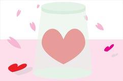 Rood hart in transparant glas Royalty-vrije Stock Foto's