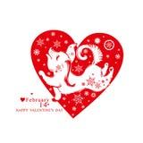 Rood hart vlak patroon Leuk Puppy Royalty-vrije Stock Fotografie