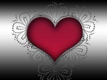 Rood hart voor een zwarte decorachtergrond.! Stock Foto's