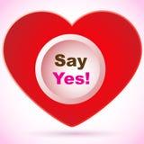 Rood hart - zeg ja! Stock Afbeelding