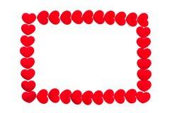 Rood hartenkader op witte achtergrond Stock Afbeelding
