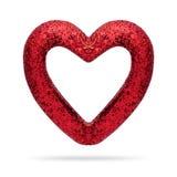 Rood Hartkader op Witte Achtergrond Valentine Heart royalty-vrije stock afbeeldingen