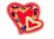 Rood hartpluis en lovertje Stock Foto