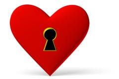 Rood hartsymbool met sleutelgat royalty-vrije illustratie