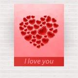 Rood helder veelhoekig hart - ontwerp voor kaart royalty-vrije illustratie