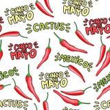 Rood het beeldverhaal naadloos patroon van de Spaanse peperpeper stock illustratie