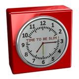 Rood horloge met woordentijd slank te zijn Royalty-vrije Stock Foto