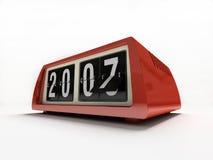 Rood horloge - tegen op wit Nieuw jaar als achtergrond Stock Afbeeldingen