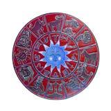 Rood horoscoopwiel Royalty-vrije Stock Foto