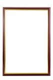 Rood houten frame met gouden binnen grens Stock Afbeeldingen