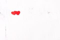 Rood houten hart twee Royalty-vrije Stock Fotografie