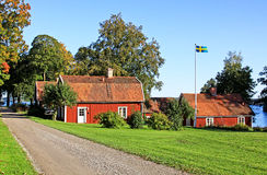 Rood huis. Stock Foto