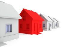 Rood huis in de voorgrond. vector illustratie