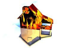 Rood Huis op het Huis van de Brand op Wit Royalty-vrije Stock Foto's