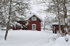 Rood huis in sneeuwval Royalty-vrije Stock Foto's