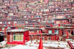 Rood huis van de universiteit van Seda buddhish Royalty-vrije Stock Foto