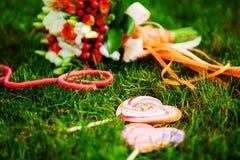 Rood huwelijksboeket Stock Foto
