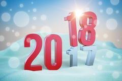 Rood inschrijvingsnieuwjaar 2018 in sneeuwbank Stock Foto
