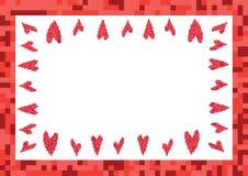 Rood kader met hartenpixel Stock Fotografie