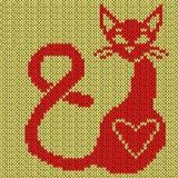 Rood Katje op de gele achtergrond Stock Afbeelding