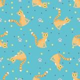 Rood katten naadloos patroon Stock Afbeeldingen