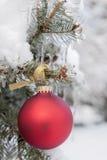 Rood Kerstmisornament op sneeuwboom stock afbeelding