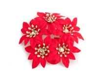 Rood Kerstmisstuk speelgoed dat op wit wordt geïsoleerdo Royalty-vrije Stock Foto's