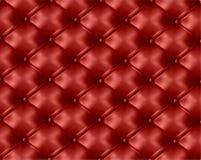 Rood knoop-doorgenaaide leerachtergrond. Vector Royalty-vrije Stock Foto