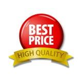 Rood knoop en lint met Hoge woorden` Beste Prijs - kwaliteit ` Stock Foto