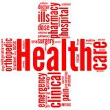 Rood kruis - de markering van de Gezondheid en van het welzijn of woordwolk Royalty-vrije Stock Foto