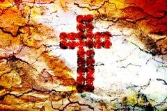 Rood kruis en wolken Stock Afbeeldingen