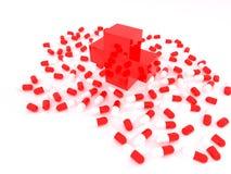 Rood kruis met verspreidingstabletten Stock Foto's
