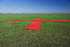 Rood kruis op het gras Stock Afbeelding