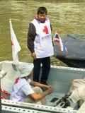 Rood Kruisvrijwilligers Stock Foto