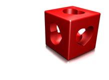 Rood kubus en hart Royalty-vrije Stock Afbeeldingen