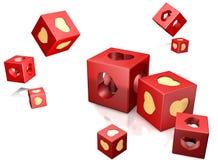 Rood kubus en hart Stock Fotografie