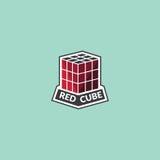 Rood kubusembleem Stock Afbeelding