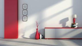 Rood leeg binnenland met vazen en lamp Royalty-vrije Stock Foto