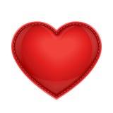 Rood leerhoofdkussen als hart Stock Foto