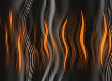 Rood lichaam van vlam op gekrulde rookachtergronden Stock Afbeelding