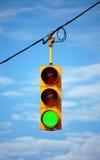 Rood licht op groen Royalty-vrije Stock Afbeeldingen