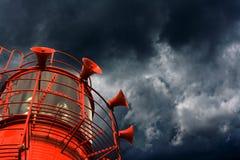 Rood lichtschip met misthoornen stock foto's