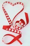 Rood lint in de hartvorm Royalty-vrije Stock Foto