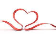 Rood lint in een hartvorm. Royalty-vrije Stock Afbeelding