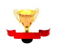 Rood lint en een gouden trofeekop Stock Afbeeldingen