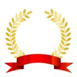 Rood lint en gouden laurier Royalty-vrije Stock Foto's