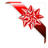 Rood lint met boog Royalty-vrije Stock Foto's
