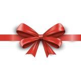 Rood lint met boog die op witte achtergrond wordt geïsoleerde Vector Royalty-vrije Stock Foto's